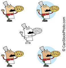 cozinheiro, pizzeria, segurando pizza