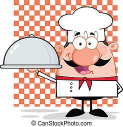 cozinheiro, platter, personagem, segurando
