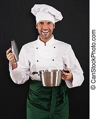 cozinheiro, pote, cozinhar