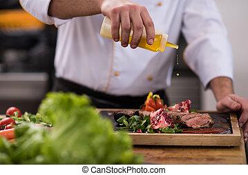 cozinheiro, prato, acabamento, bife, carne