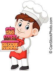 cozinheiro, prato, bolo, gostosa, segurando