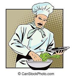cozinheiro, prepara, alimento.