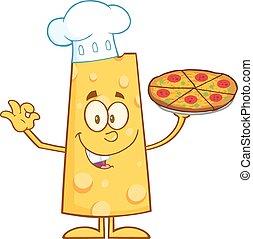 cozinheiro, queijo, segurando pizza