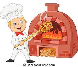 cozinheiro, quentes, caricatura, segurando pizza