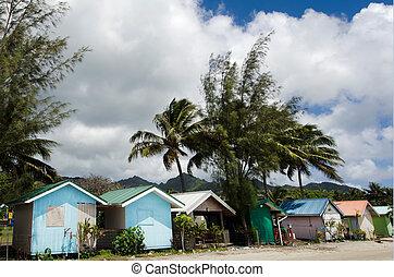 cozinheiro, rarotonga, cabanas, coloridos, ilhas