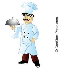 cozinheiro, refeição, feliz, mão