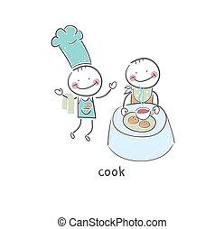 cozinheiro, restaurant., illustration., visitando