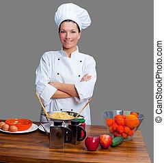 cozinheiro, retrato, branca, mulher, uniforme