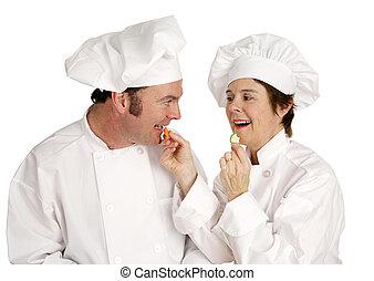 cozinheiro, série, -, comer saudável