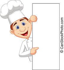 cozinheiro, silício, segurando, em branco, caricatura, feliz