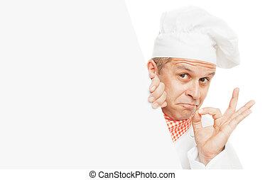cozinheiro, sorrindo, branca, isolado
