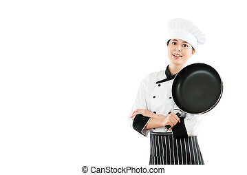 cozinheiro, sorrindo, branca, isolado, fundo