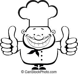 cozinheiro, sorrindo, mostrando, cima, polegares