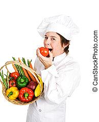 cozinheiro, tomate, -, maduro, gordo