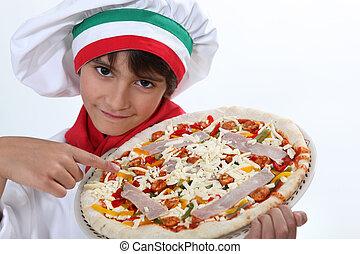 cozinheiro, vestido, criança,  pizza