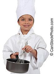 cozinheiro, vestido, pequeno, menina