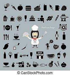 cozinheiro, vetorial, bandeja, caricatura, segurando