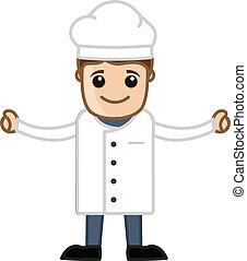 cozinheiro, vetorial, -, caricatura, feliz