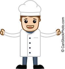 cozinheiro, vetorial, caricatura, feliz