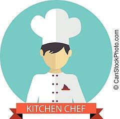 cozinheiro, vetorial, ilustração, cozinha