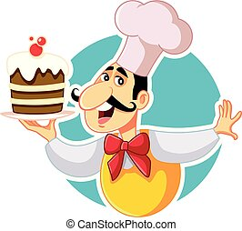 cozinheiro, vetorial, massa, segurando, bolo, caricatura