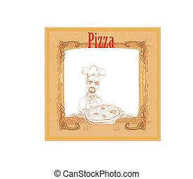 cozinheiro, vindima, cartão, pizza