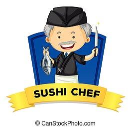 cozinheiro, wordcard, sushi, ocupação