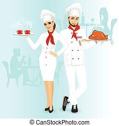 cozinheiros, mulher, atraente, homem