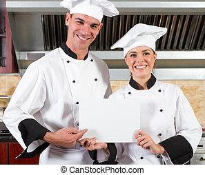 cozinheiros, whiteboard, profissional