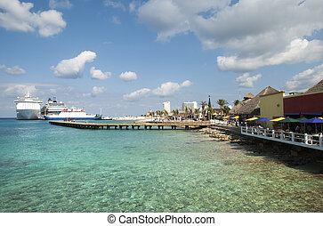 Cozumel Island Waters - The view of transparent waters near...