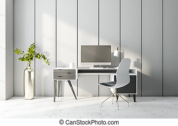 Cozy and sunny home office area for remote work with stylish furniture, computer and marble floor. Blank computer monitor