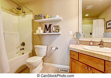 Cozy antique bathroom interior in white tones with shelves...