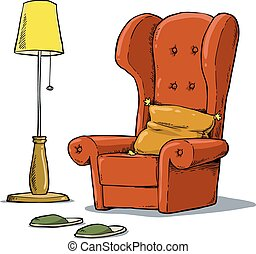 Cozy armchair - A comfortable armchair and lamp vector...