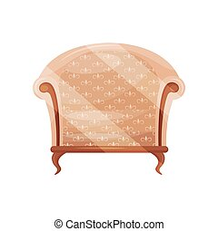 Cozy armchair with beige trim. Wooden chair. Classic furniture for living room. Object for home interior. Flat vector icon