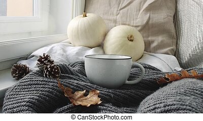 Cozy Autumn morning breakfast in bed scene. Steaming cup of...