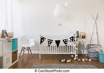 Cozy baby room decor - Horizontal view of cozy baby room...