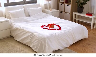 cozy bedroom decorated for valentines day - valentines day,...