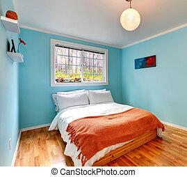 Cozy bedroom in light blue color