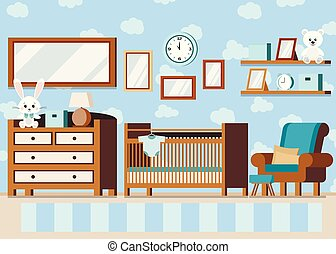 Cozy boy s baby room interior background in cartoon flat style.