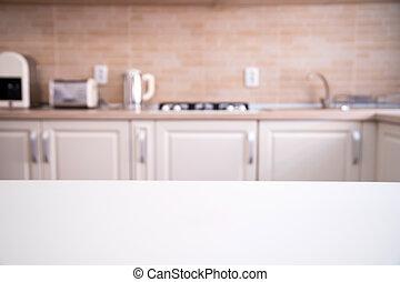 Cozy bright kitchen interior with wooden furniture
