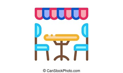 cozy cafe Icon Animation. color cozy cafe animated icon on white background