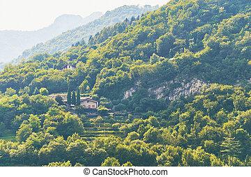 Cozy farm on a mountain near lake Garda in Italy