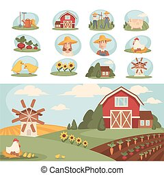Cozy farm with long vegetable beds, red barn and mill