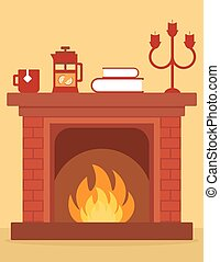 cozy fireplace on room. cartoon red brick fireplace on home...