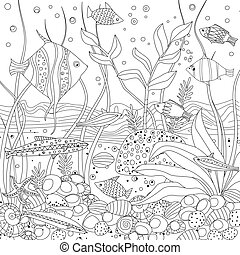 cozy fish tank with seaweed and rock stones for your coloring bo