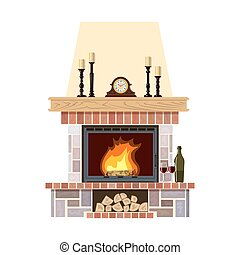 Cozy flaming fireplace