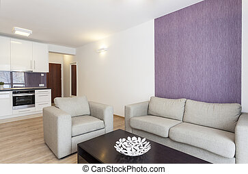 Cozy flat - grey sofa in white and violet living room