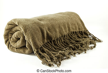 Cozy fringe blanket - Roll-up cozy blanket isolated on a...