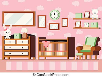 Cozy girl s baby room interior pink color background Vector interior scene illustration.
