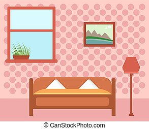 cozy guest room. room interior with furniture. window and...